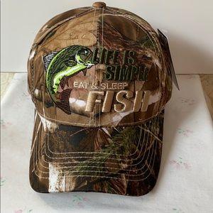 LIFE IS SIMPLE, EAT SLEEP FISH CAMO BASEBALL HAT